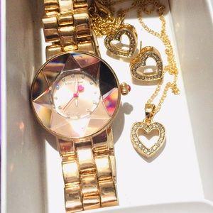 Betsey Johnson Watch(Ticking Perfectly)&Heart SET!